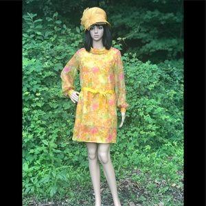 cc330771cb6c Vintage Dresses   Fun Mod 1960s Mini Dress Sheer Sleeves No Labels ...